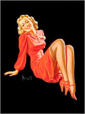 Stampa su plexi-alluminio  Pin Up - Lady in Red Dress - Al Buell