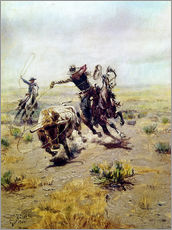 Adesivo murale  Il cowboy prende un toro - Charles Marion Russell