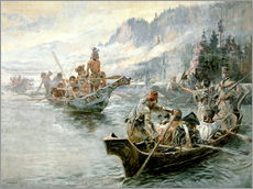 Adesivo murale  Lewis e Clark sul basso Columbia River, 1905 - Charles Marion Russell