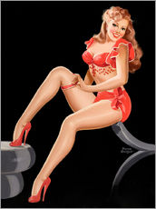 Stampa su plexi-alluminio  Pin Up in Red - Peter Driben