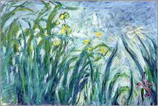 Stampa su plexi-alluminio  Yellow and Purple Irises - Claude Monet