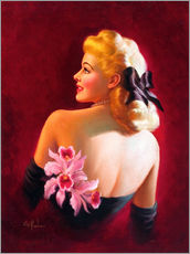 Adesivo murale  Glamour Pin Up with Pink Orchids - Art Frahm
