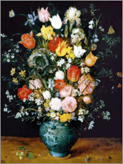 Stampa su legno  Bouquet in a blue vase - Jan Brueghel d.Ä.