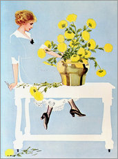 Adesivo murale  Housekeeper with bouquet - Clarence Coles Phillips