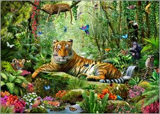 Adesivi murali  Tiger in the Jungle - Adrian Chesterman