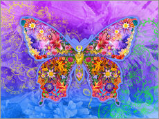 Adesivo murale  Blue Butterfly Floral - Alixandra Mullins