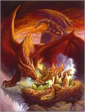 Stampa su plexi-alluminio  Children of the Dragon - Jeff Easley