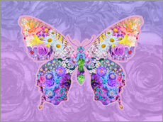 Adesivo murale  Purple Floral Buttefly - Alixandra Mullins