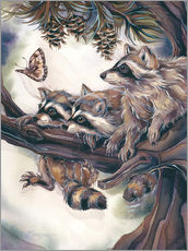 Adesivo murale  Raccoons and butterfly - Jody Bergsma