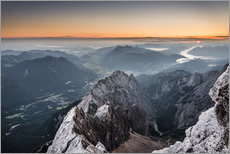 Adesivo murale  Sunrise from Zugspitze mountain with view across the alps - Andreas Wonisch
