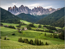 Stampa su plexi-alluminio  View over Funes in the Dolomites - Andreas Wonisch
