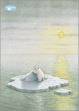 Adesivo murale  The Little Polar Bear on the ice floe