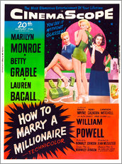 Stampa su plexi-alluminio  HOW TO MARRY A MILLIONAIRE, Betty Grable, Marilyn Monroe, Lauren Bacall