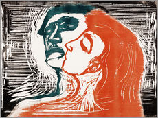 Adesivo murale  Man and woman is kissing - Edvard Munch
