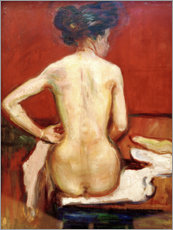 Stampa su alluminio  Back View of Sitting Female Nude with Red Background - Edvard Munch