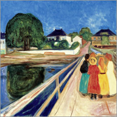 Stampa su tela  Girl on a Bridge - Edvard Munch