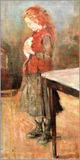 Stampa su tela  Red-haired girl with white rat - Edvard Munch