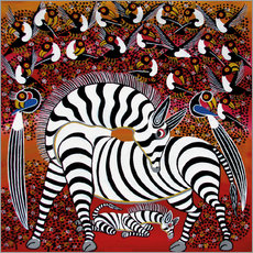 Adesivo murale  Zebra with a large flock of birds - Hassani