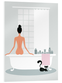 Stampa su vetro acrilico  Bathing kitty - Ping Lee
