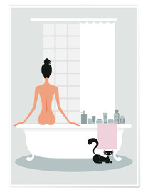 Poster Premium  bathing kitty - Ping Lee