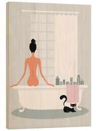 Stampa su legno  bathing kitty - Ping Lee