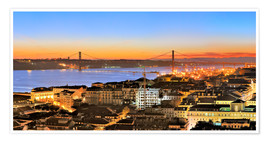 Poster  Panorama  of Lisbon Portugal - Fine Art Images