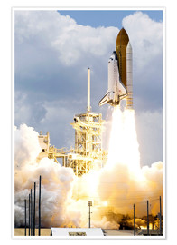 Poster Premium Space shuttle Atlantis launches