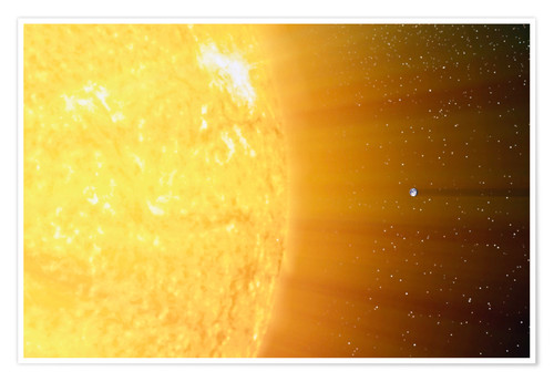Poster Premium The relative sizes of the Sun and the Earth