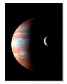 Poster Premium  Jupiter and its volcanic moon Lo