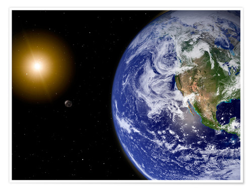 Poster Premium Earth with water-bearing moon