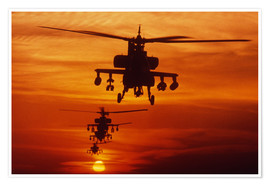 Poster Premium AH-64 Apache anti-tank helicopters