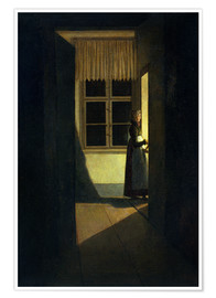 Poster Premium The Woman with the Candlestick