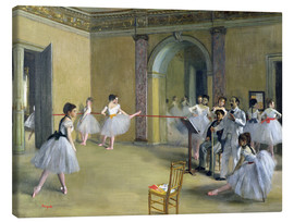 Stampa su tela  The Dance Foyer at the Opera on the rue Le Peletier - Edgar Degas