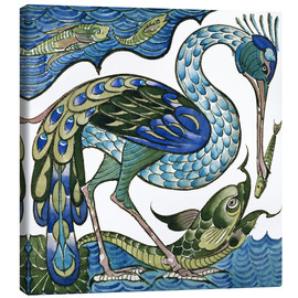 Stampa su tela  Heron and Fish - Walter Crane