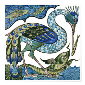 Poster Premium  Heron and Fish - Walter Crane