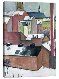 Stampa su tela  The Church of St Mary in Bonn in Snow - August Macke