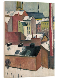Stampa su legno  The Church of St Mary in Bonn in Snow - August Macke