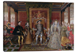 Stampa su tela  An Allegory of the Tudor Succession: The Family of Henry VIII - Lucas de Heere