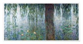 Poster  Waterlilies: Morning with Weeping Willows (detail) - Claude Monet
