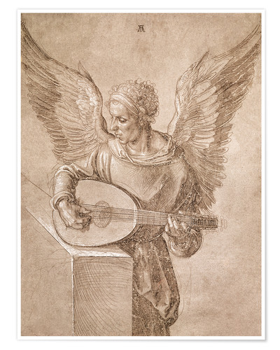 Poster Premium Angel playing a lute