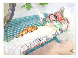 Poster  Woman Lying on a Bench - Carl Larsson