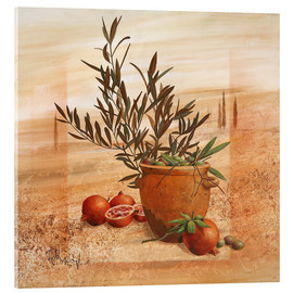 Vetro acrilico  Pomegranate and olive harvest - Franz Heigl