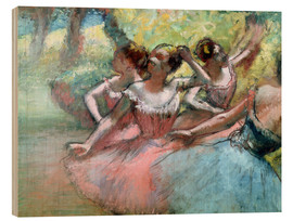 Stampa su legno  Four ballerinas on the stage - Edgar Degas