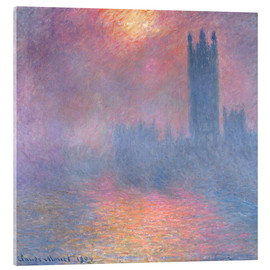 Stampa su vetro acrilico  The Houses of Parliament - Claude Monet