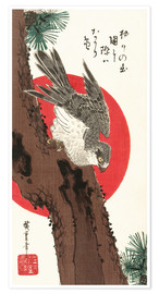 Poster Premium  Falcon, Pine, and New Year Sunrise - Utagawa Hiroshige