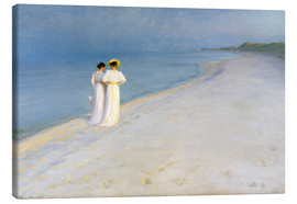 Tela  Summer Evening on the Skagen Southern Beach with Anna Ancher and Marie Kroyer - Peder Severin Krøyer