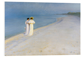 Stampa su schiuma dura  Summer Evening on the Skagen Southern Beach with Anna Ancher and Marie Kroyer - Peder Severin Krøyer