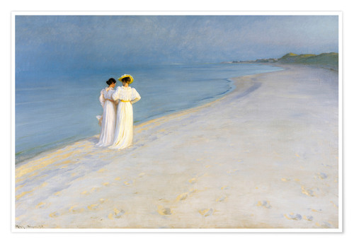 Poster Summer Evening on the Skagen Southern Beach with Anna Ancher and Marie Kroyer