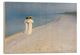 Stampa su legno  Summer Evening on the Skagen Southern Beach with Anna Ancher and Marie Kroyer - Peder Severin Krøyer