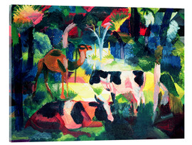 Stampa su vetro acrilico  Landscape with Cows and a Camel - August Macke